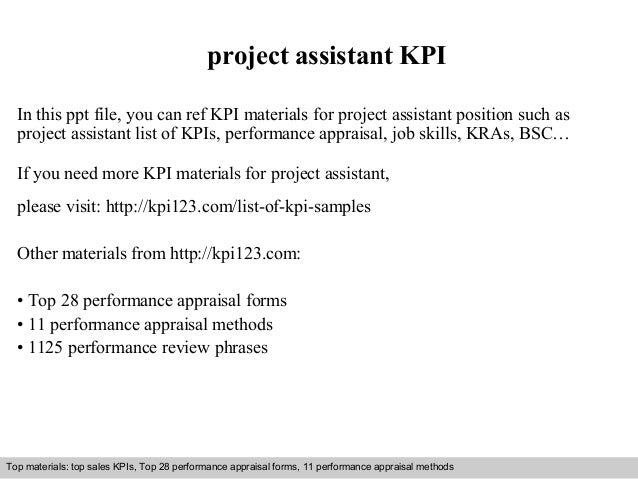 project assistant KPI  In this ppt file, you can ref KPI materials for project assistant position such as  project assista...