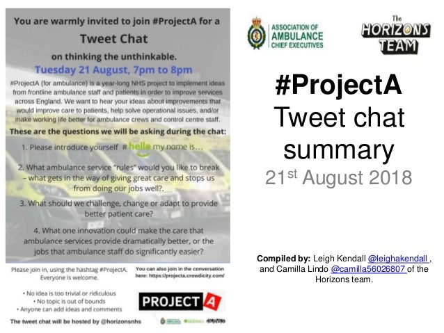 Compiled by: Leigh Kendall @leighakendall , and Camilla Lindo @camilla56026807 of the Horizons team. #ProjectA Tweet chat ...