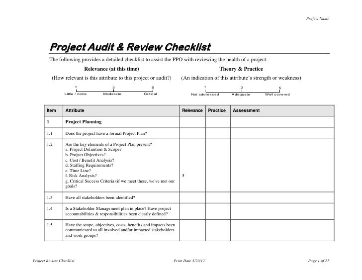 Project Name Project Audit U0026 Review Checklist The Following Provides A  Detailed ...  Audit Forms Templates