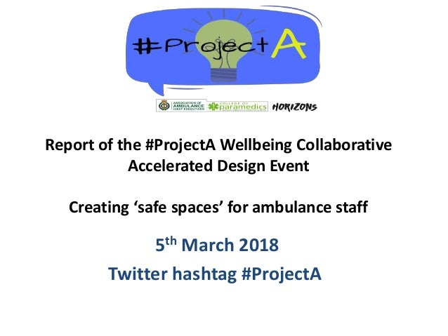 5th March 2018 Twitter hashtag #ProjectA Report of the #ProjectA Wellbeing Collaborative Accelerated Design Event Creating...