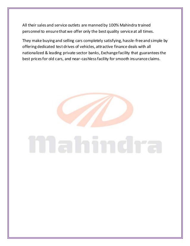 marketing strategies of mahindra automobiles Suv maker mahindra & mahindra adopts new strategy to take on competitors, rev up market share india's largest maker of sports utility vehicles (suvs).