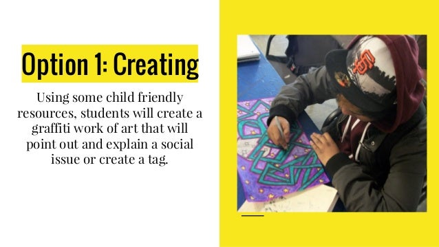 Option 1: Creating Using some child friendly resources, students will create a graffiti work of art that will point out an...