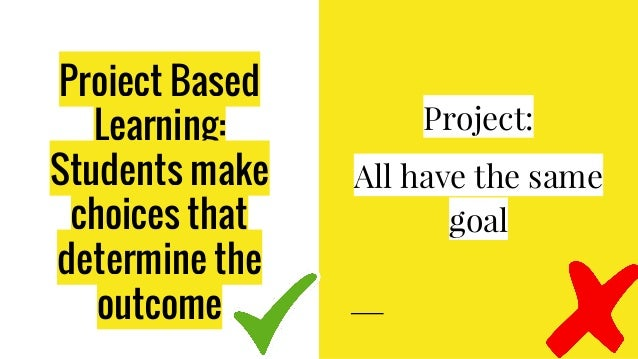 Project Based Learning: Students make choices that determine the outcome Project: All have the same goal