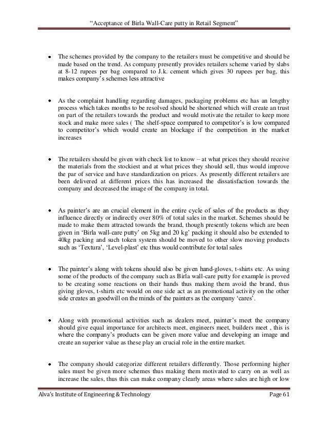 Acceptance of Birla Wall Care Putty in Retail Segment