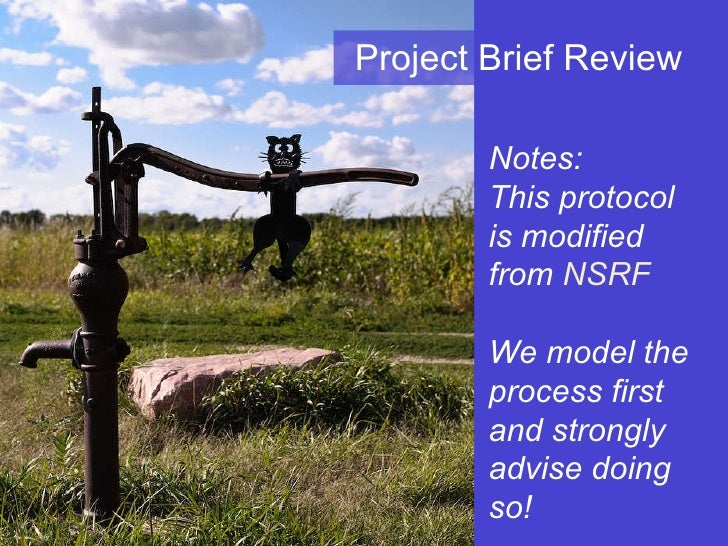 Project Brief Review Notes:  This protocol is modified from  NSRF We model the process first and strongly advise doing so!