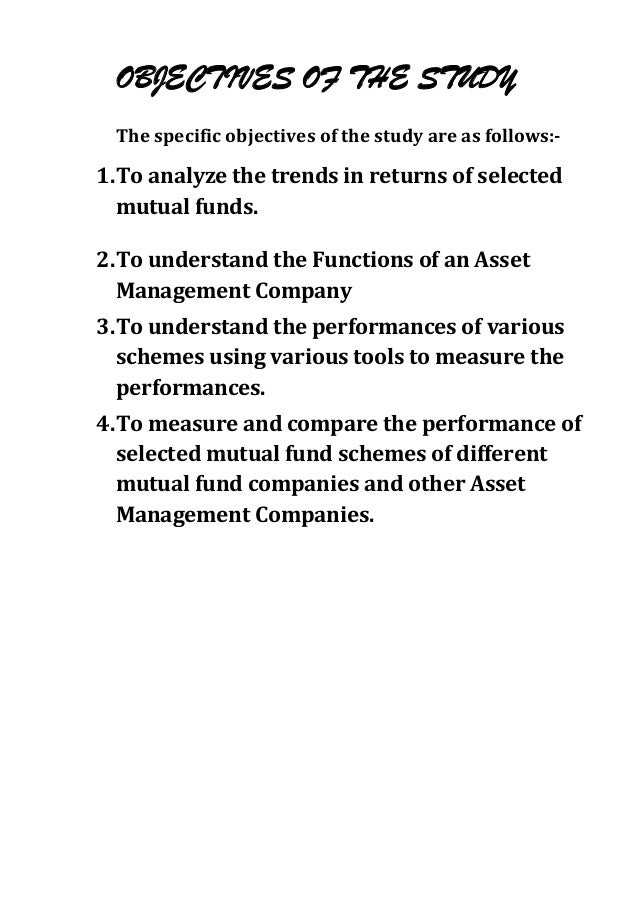 OBJECTIVES OF THE STUDY The specific objectives of the study are as follows:-1. To analyze the trends in returns of select...