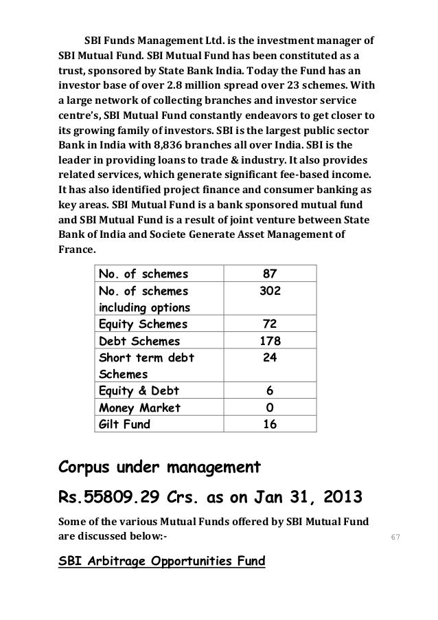 SBI Funds Management Ltd. is the investment manager ofSBI Mutual Fund. SBI Mutual Fund has been constituted as atrust, spo...