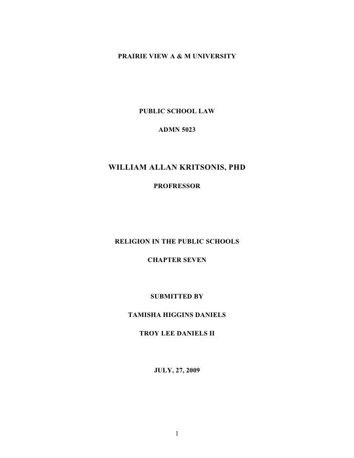 PRAIRIE VIEW A & M UNIVERSITY           PUBLIC SCHOOL LAW             ADMN 5023     WILLIAM ALLAN KRITSONIS, PHD          ...