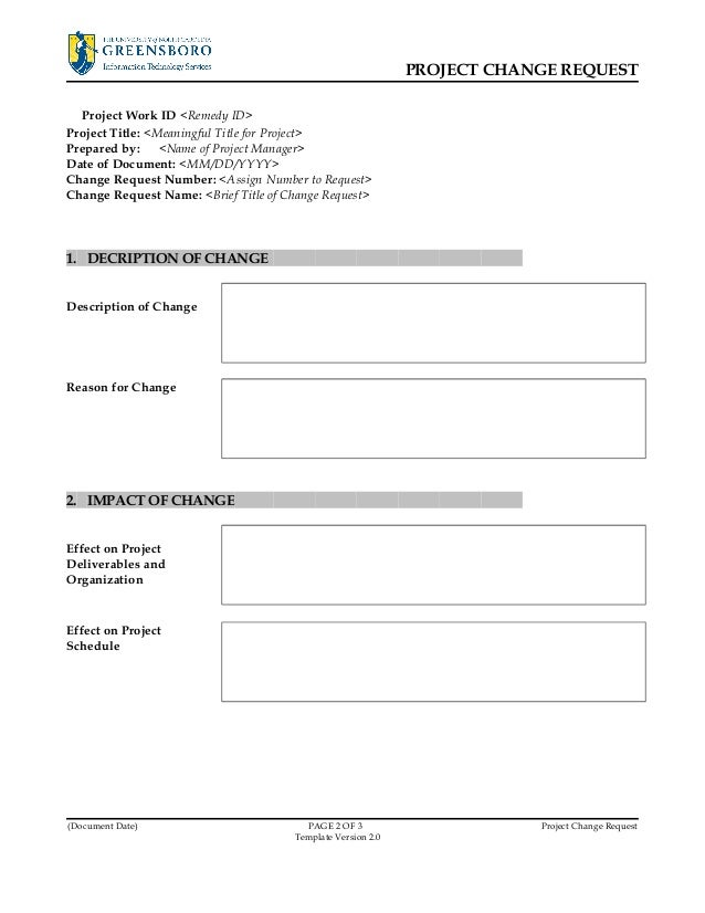 Project Change Request Template V2.0