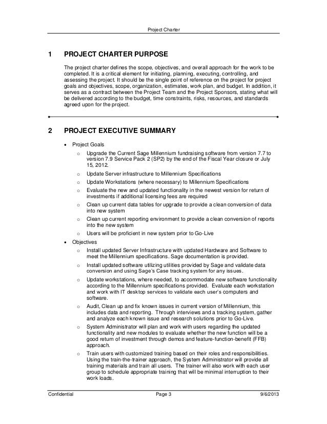 Project charter and plan document for millennium upgrade – Project Charter Template