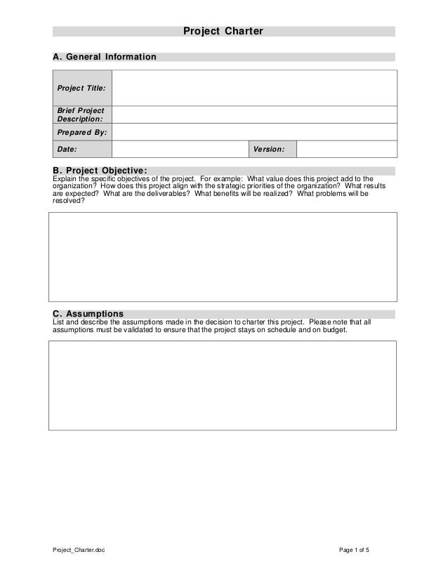 Project charter template for One page project charter template