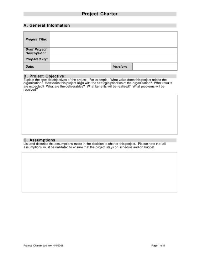 project charter template excel