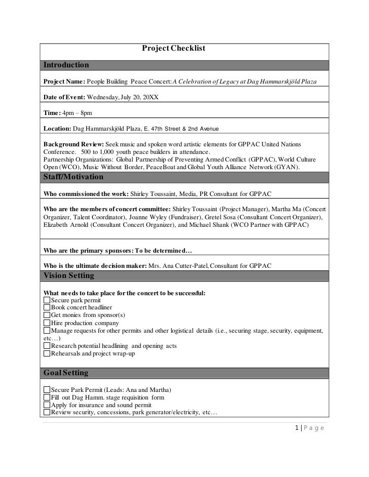 MS Word Writing Sample Project Management Checklist for Music Concert – Sample Project Checklist Template