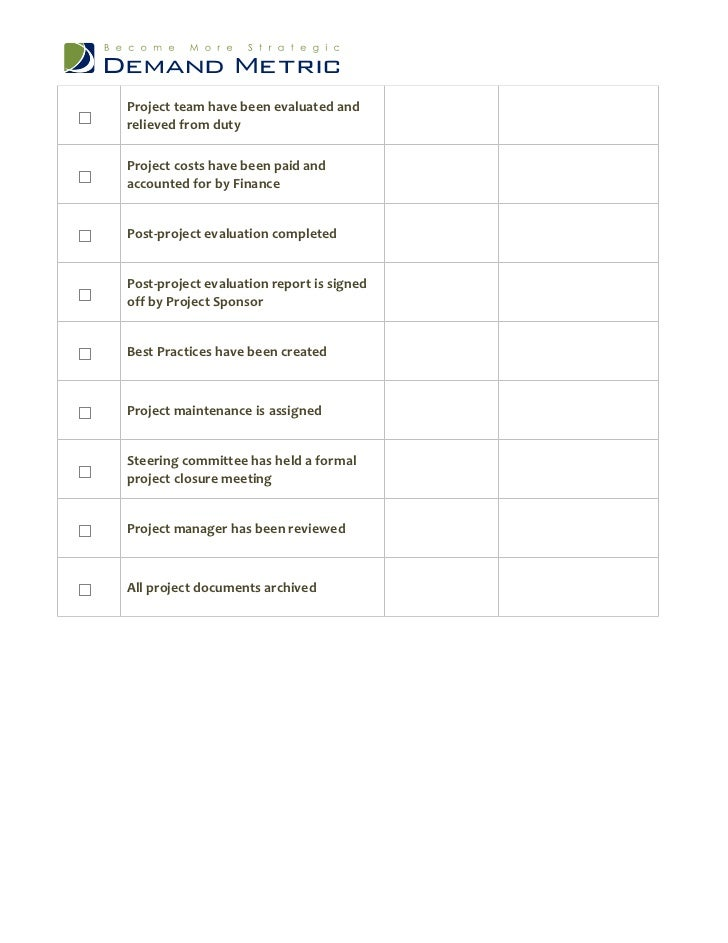 project closeout checklist template project completion checklist template - Ideal.vistalist.co