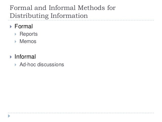 Formal and Informal Methods for Distributing Information  Formal  Reports  Memos  Informal  Ad-hoc discussions