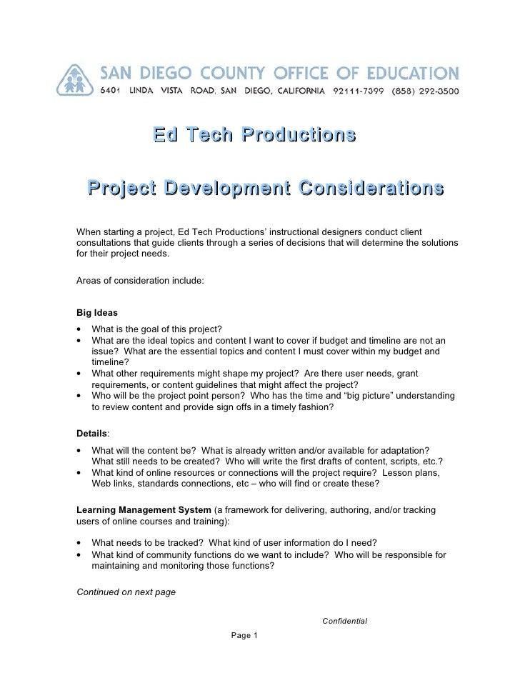 Ed Tech Productions    Project Development ConsiderationsWhen starting a project, Ed Tech Productions' instructional desig...