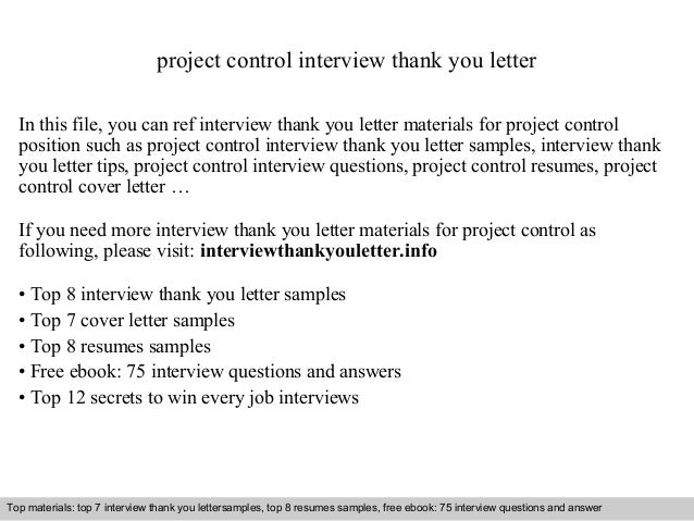 project control interview thank you letter  In this file, you can ref interview thank you letter materials for project con...