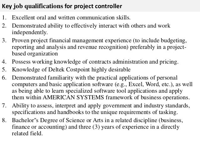 Good 3. Key Job Qualifications For Project Controller ... Pictures Gallery
