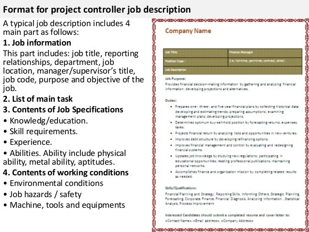 Project Controller Job Description