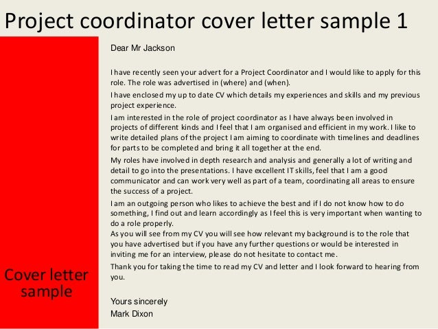 Great Project Coordinator Cover Letter ... Intended Project Coordinator Cover Letter