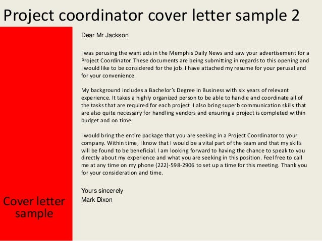 Sample project coordinator cover letter