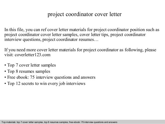 sample cover letter for project coordinator