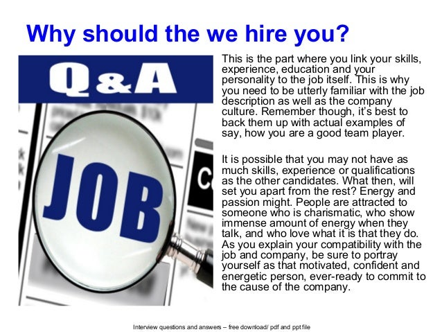 why should we hire you over other candidates pdf