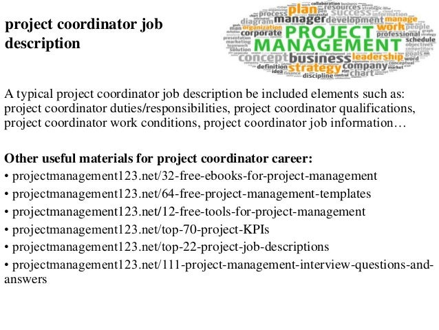 job description for project coordinator