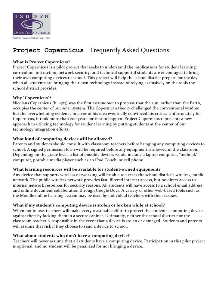 Project Copernicus Frequently Asked Questions    What is Project Copernicus?  Project Copernicus is a pilot project that s...