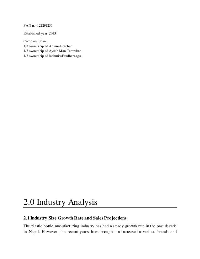 Plastic Manufacturing Company - Business Plan