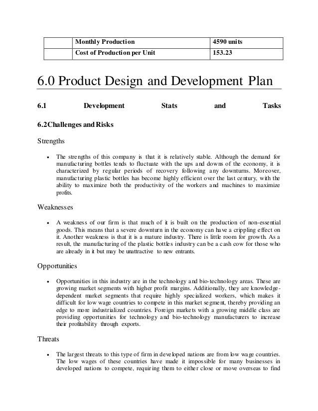 Custom manufacturing business plan