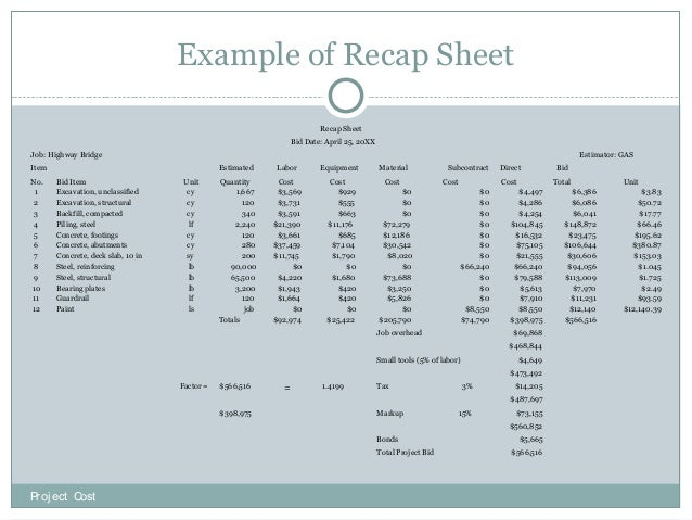 concrete bid sheets