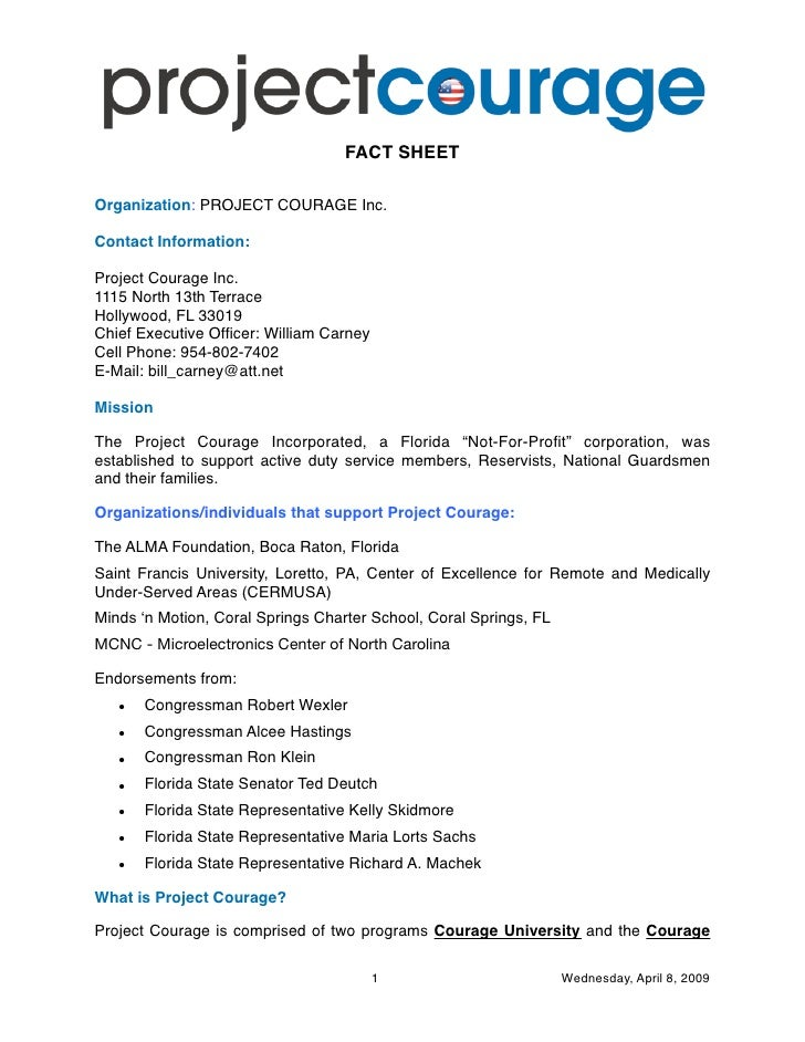 FACT SHEET  Organization: PROJECT COURAGE Inc.  Contact Information:  Project Courage Inc. 1115 North 13th Terrace Hollywo...
