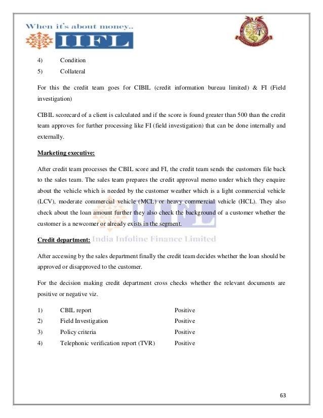 Credit appraisal system in commercial vehicle loans undertaken at ind 63 altavistaventures Choice Image
