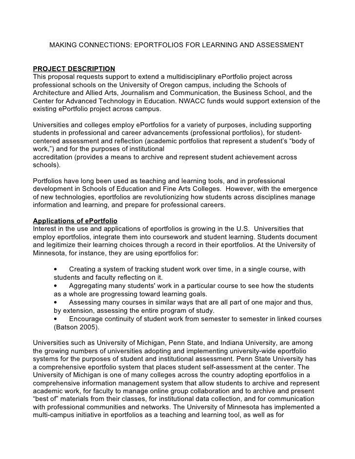 MAKING CONNECTIONS: EPORTFOLIOS FOR LEARNING AND ASSESSMENT PROJECT  DESCRIPTION This Proposal Requests Support To Extend Professional ...  Professional Project Proposal