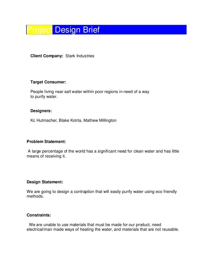 Project design brief template – Project Design Template