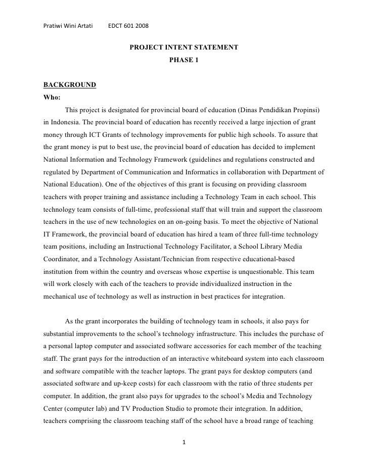 Pratiwi Wini Artati    EDCT 601 2008                                 PROJECT INTENT STATEMENT                             ...