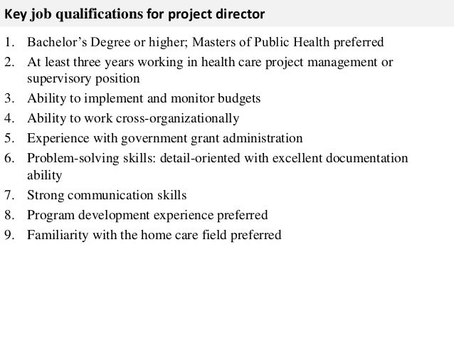 3. Key Job Qualifications For Project Director ...
