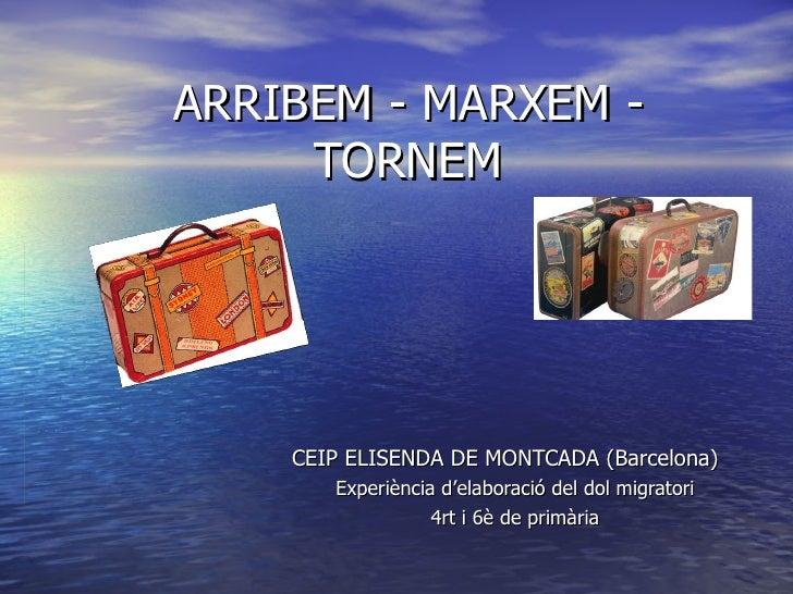 ARRIBEM - MARXEM - TORNEM CEIP ELISENDA DE MONTCADA (Barcelona) Experiència d'elaboració del dol migratori 4rt i 6è de pri...