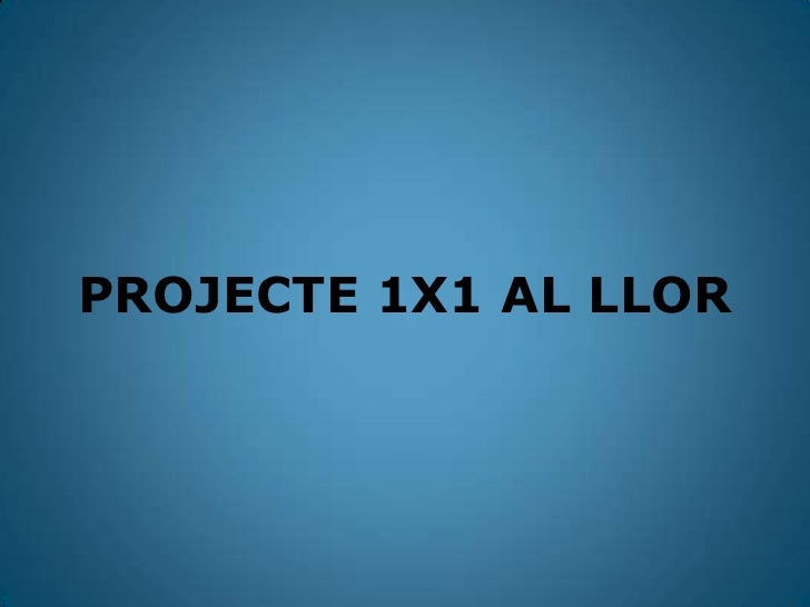 PROJECTE 1X1 AL LLOR<br />