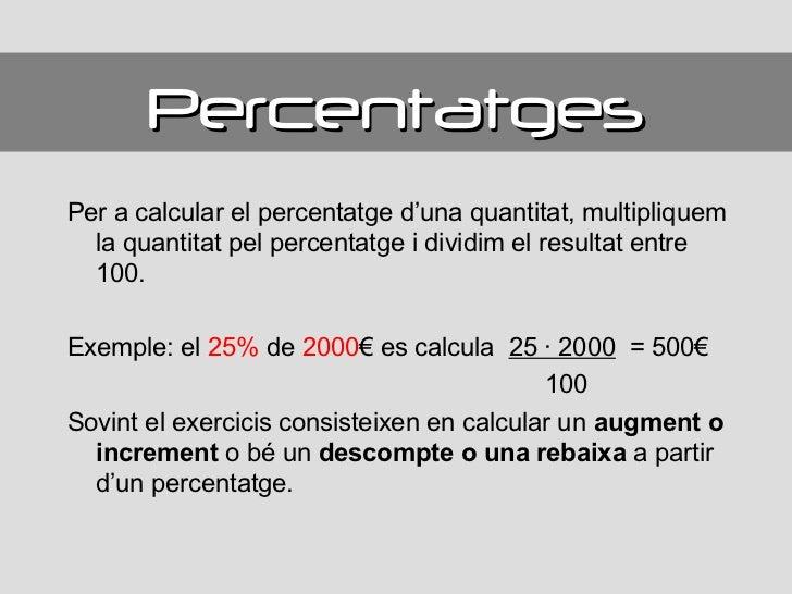 Resultat d'imatges de exercicis de càlcul de percentatges