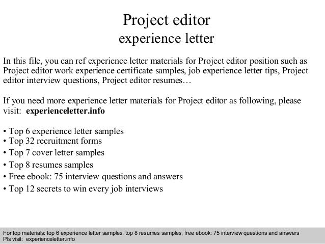 Project Editor Experience Letter