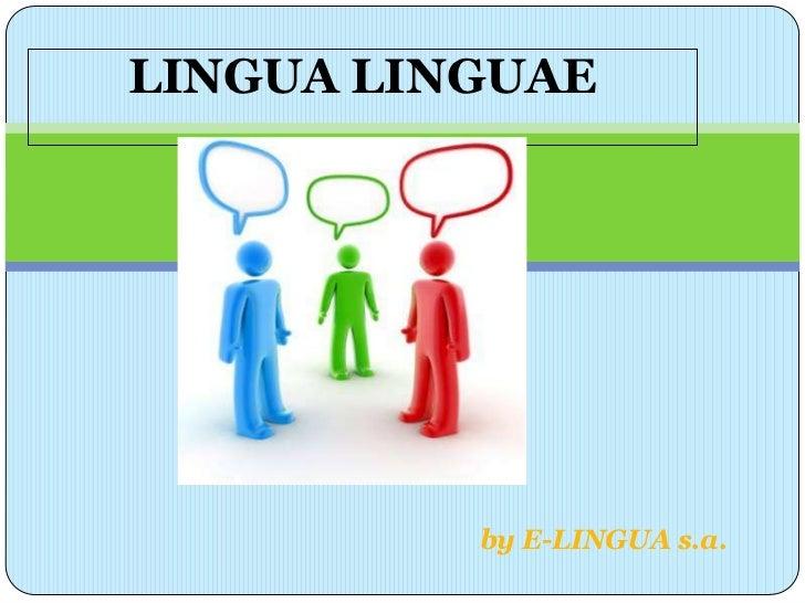 LINGUA LINGUAE          by E-LINGUA s.a.