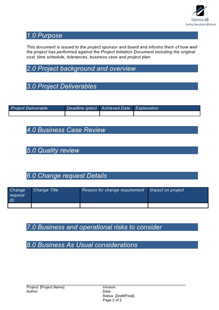 Project End Report  Project Management Template