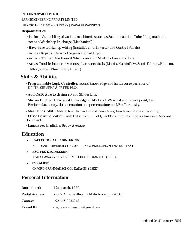 Project engineer(cv)