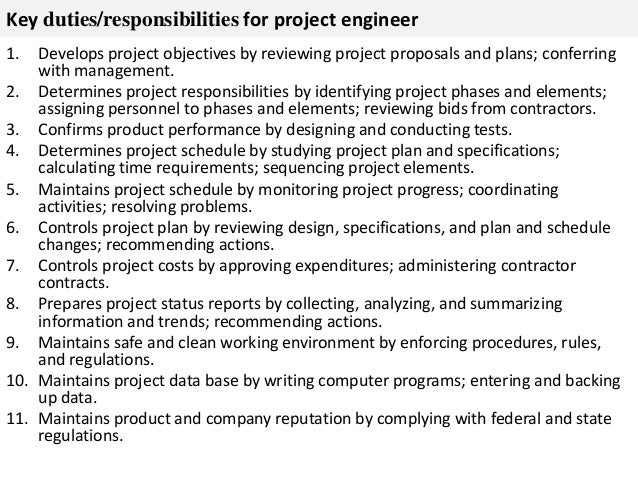 ... 2. Key Duties/responsibilities For Project Engineer ...