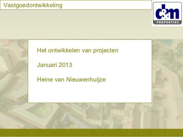 Vastgoedontwikkeling  Het ontwikkelen van projecten Januari 2013 Heine van Nieuwenhuijze