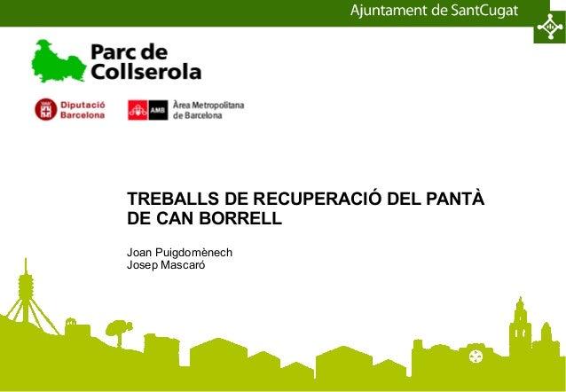 TREBALLS DE RECUPERACIÓ DEL PANTÀDE CAN BORRELLJoan PuigdomènechJosep Mascaró