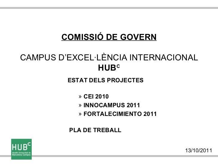 COMISSIÓ DE GOVERNCAMPUS D'EXCEL·LÈNCIA INTERNACIONAL               HUBC         ESTAT DELS PROJECTES           » CEI 2010...