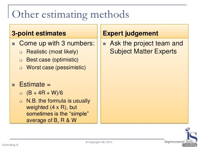 project estimating techniques Estimation techniques i about the tutorial  allow enough time to do a proper project estimate rushed estimates are inaccurate, high-risk estimates.